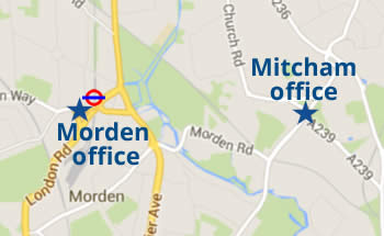 Map showing Morden and Mitcham offices
