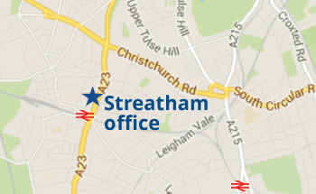 Map showing Streatham Hill office